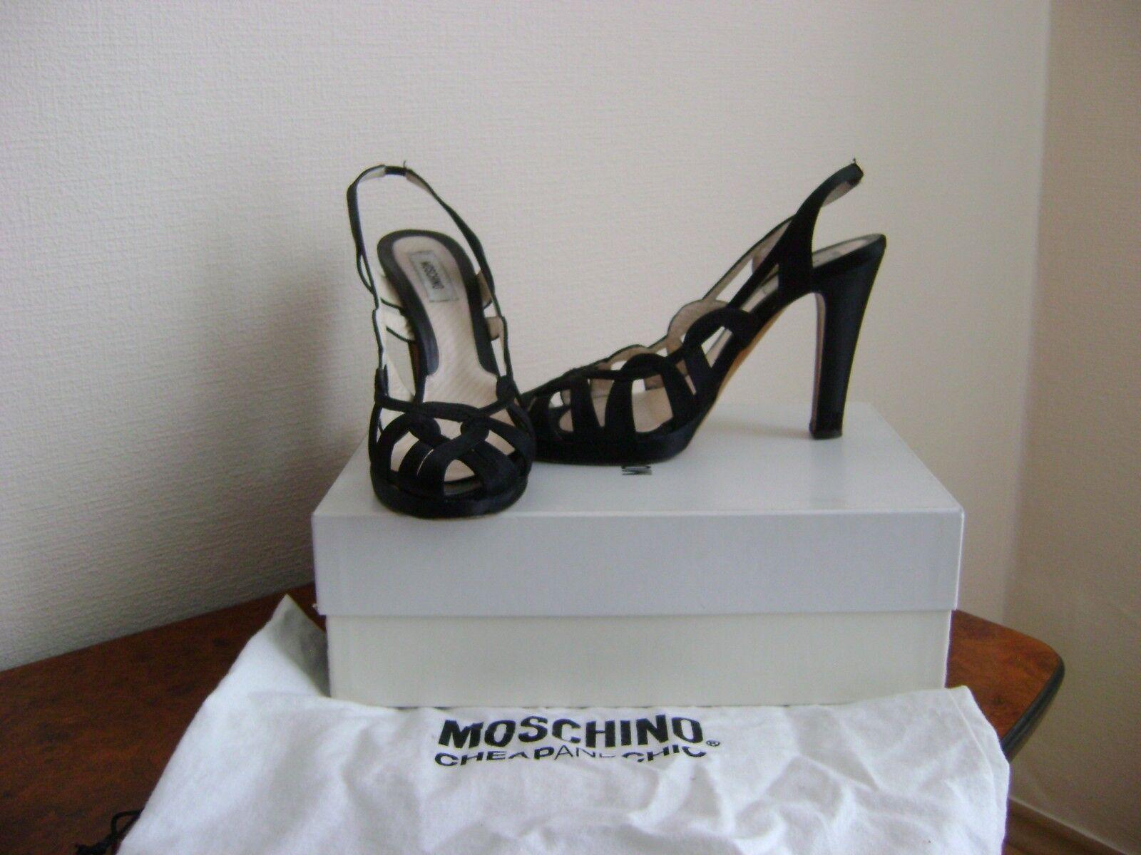 MOSCHINO- MOSCHINO- MOSCHINO- couture Gr.37,5 D  schwarz  Damen Schuhe Pumps satin ba880b
