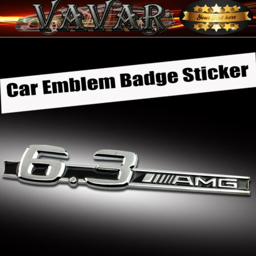 Silver 6.3 AMG Logo 3D Metal Chrome Car Sticker Badge Emblem Decal