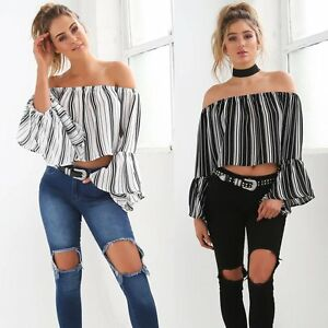Women-Loose-Boat-Neck-Flare-Long-Sleeve-Striped-T-Shirt-Casual-Blouse-Tops