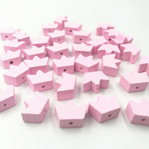 Pink Crown Wooden Beads Spacer Bead DIY Pacifier Clip making Kids Toys 18mm