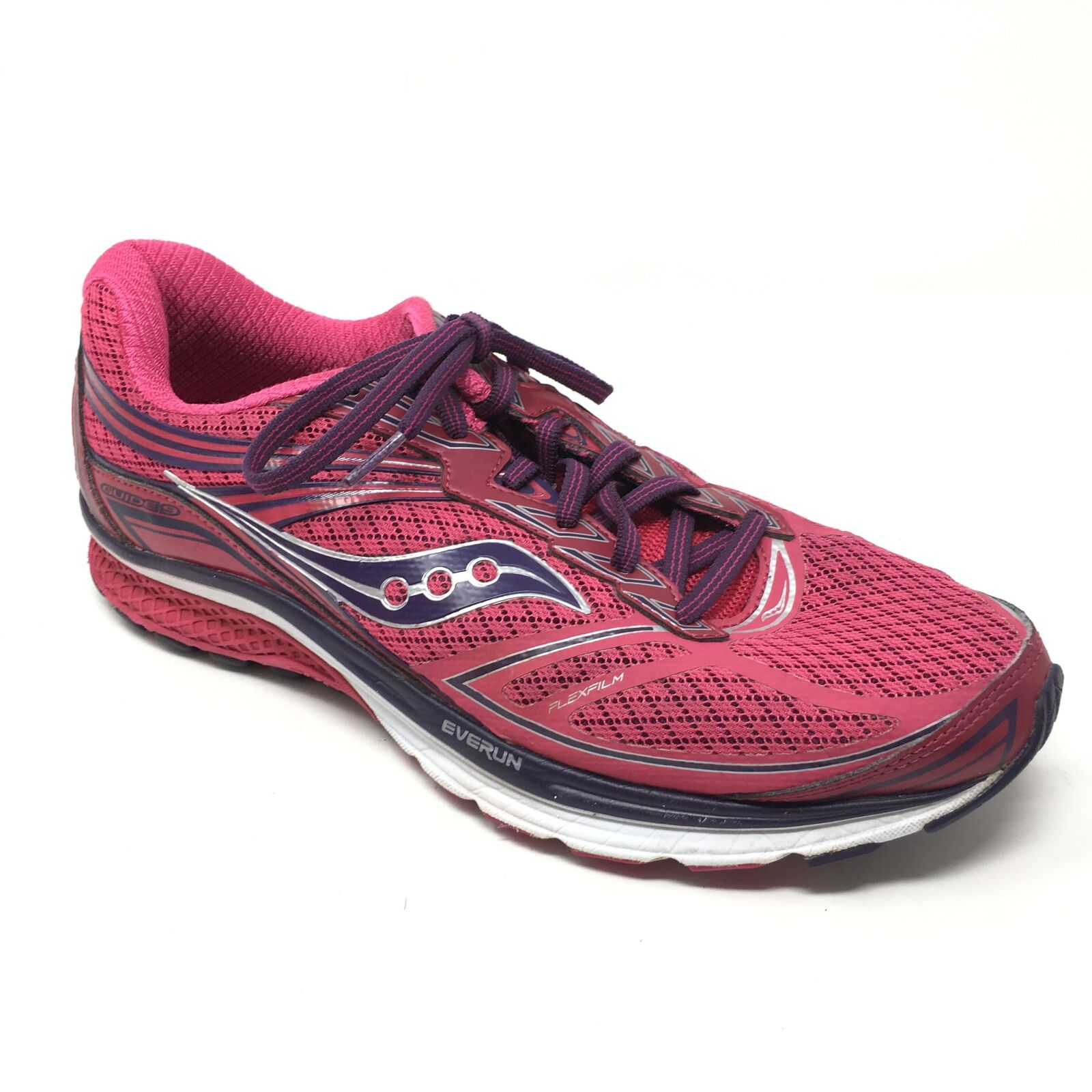 Women's Saucony Guide 9 Shoes Sneakers Size 11.5 Running Pink Indigo Flexfilm V8