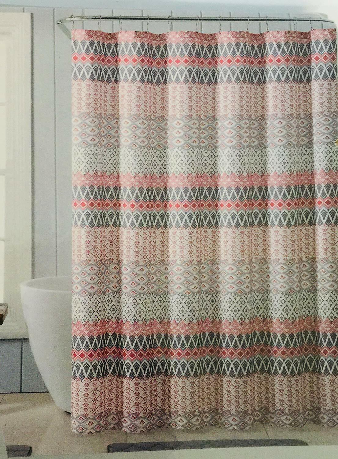 Vcny Home Black Silver Gray Geometric Fabric Shower Curtain X 72 In 72 In