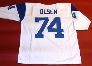 dbb44394 Details about MERLIN OLSEN CUSTOM LOS ANGELES RAMS THROWBACK W JERSEY  FEARSOME FOURSOME