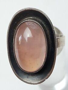 Vintage-Silber-Ring-50er-60er-Jahre-835-Silber-Rosenquarz-besetzt-RG-56-17-8mm