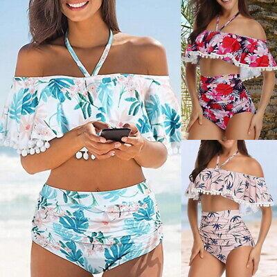 Damen Bikini Set Hochbund Rüschen Volant Badeanzug Schulterfrei Schwimmanzug KUS
