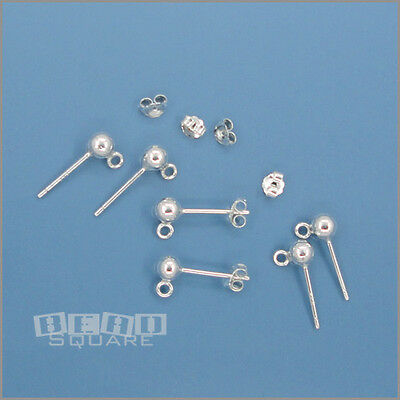 14k White Gold 6mm Circle Puff Post Stud Earrings Ball Button Fine Jewelry Gifts For Women For Her