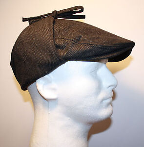 7d12610aba9b0 BLACK HERRINGBONE FLAT IVY WOOL GATSBY WINTER HAT EAR FLAP TIES ...