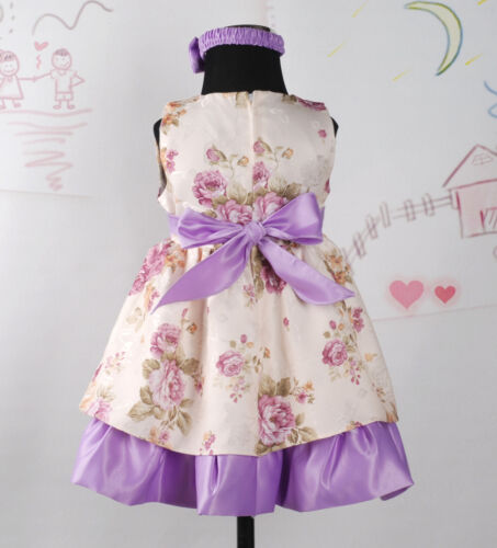 New Baby Girls Party Dress with Headband/&Bloomers in Lilac,Burgundy 0-24 Months