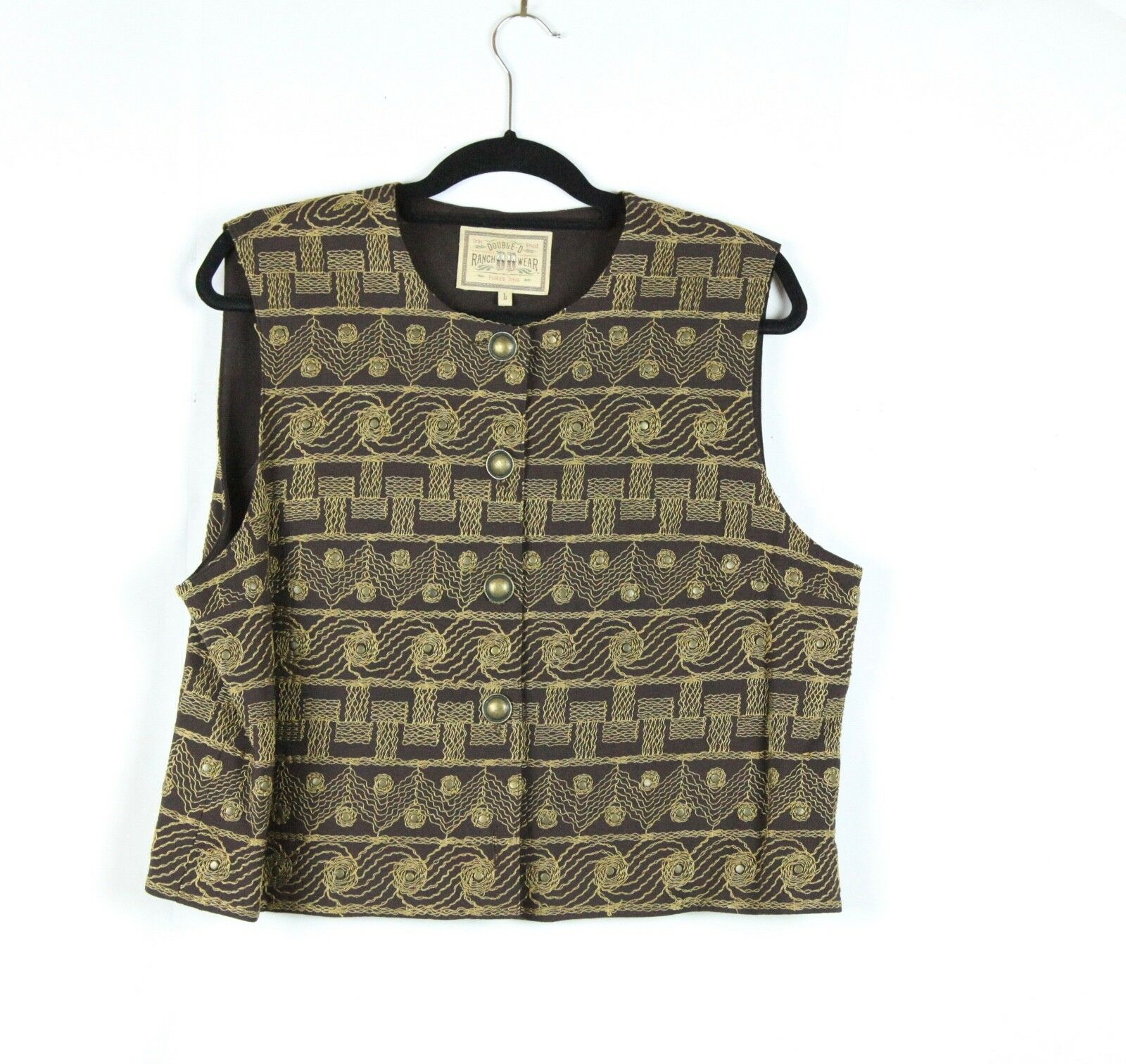 Double D Ranch Wear DD Yoakum Brown Embroidered Vest Brass Studs Large Western