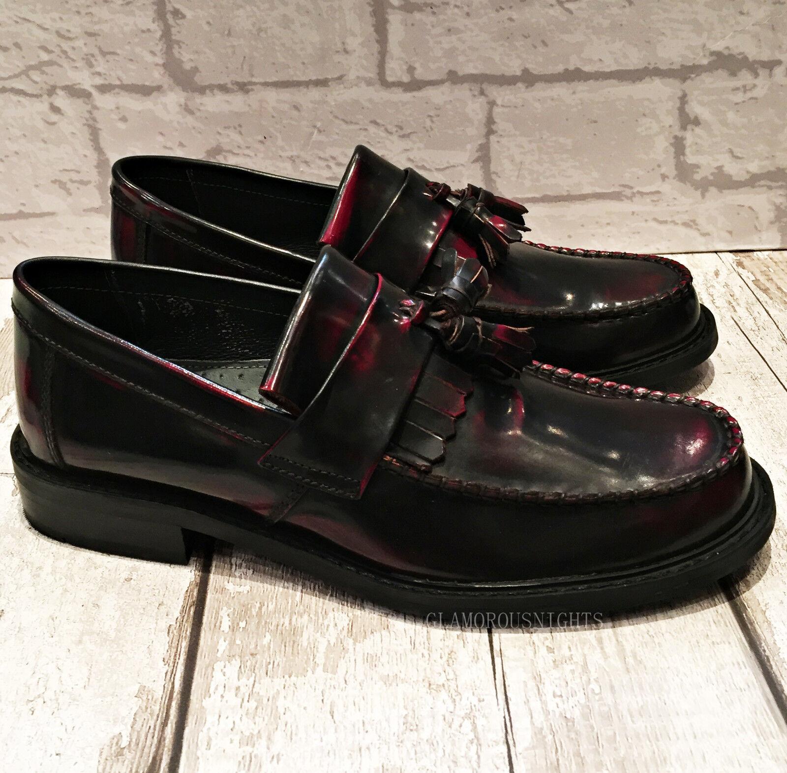 Para hombres Cuero Borgoña Hi-Brillo Inteligente Mocasín Casual palanca de cubierta barco resbalón en el zapato