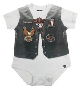 Harley-Davidson Baby Boys' Printed-On Motorcycle Vest Infant Creeper