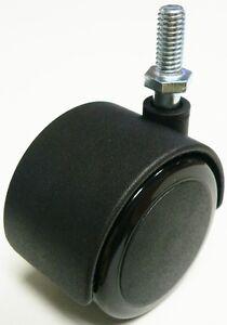 "Oajen 2"" soft wheel caster, 3/8"" - 16 x 1"" stem, set of 4"