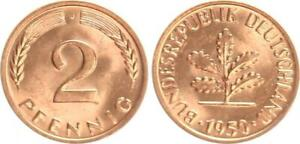 Frg 2 Pfennig 1950 J (2) Mint State 34049