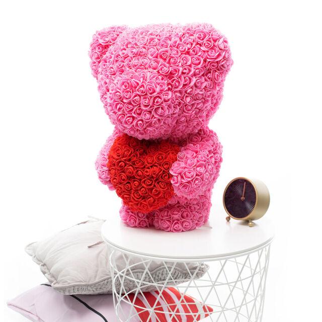 Weihnachtsgeschenk Rose Bear Flower Valentinstag Party Love Teddy 25cm Grau