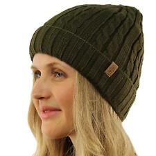 Winter 2ply Fleece Lined Stretch Cable Knit Cuff Beanie Skull Ski Hat Cap Olive