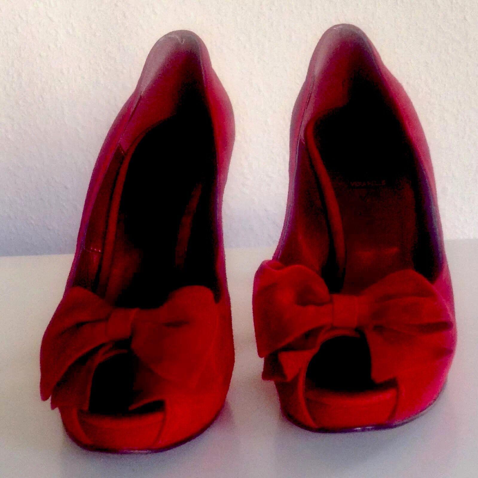 risparmia fino al 70% Pin-up-50ies 37 Peep-toes with bow burlesca in Cherry-RED Cherry-RED Cherry-RED SUEDE Pelle Rockabilly  grande sconto