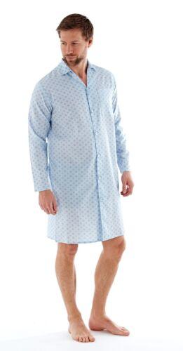 Mens Traditional Woven Night Shirt Full Button Down Night Wear Pocket M-XXL