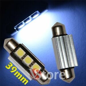 2-LED-Siluro-39mm-3-SMD-Canbus-Lampade-BIANCO-Luci-Interno-Targa-No-Errore-C5W