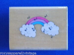 Musical-Rainbow-Wood-Mounted-Rubber-Stamp-Gently-Used-1990-Hero-Arts-D438