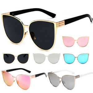 7d060c6517 Image is loading Womens-Oversized-Cat-Eye-Sunglasses-Vintage-Shades-Metal-
