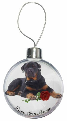 AD-RW3RlymCB Rottweiler+Rose /'Love You Mum/' Christmas Tree Bauble Decoration Gi