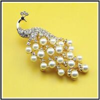 Beautiful Gold Plated Peacock Crystal & Pearl Wedding Party Brooch Pin C32