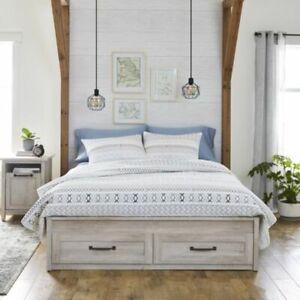 Rustic White Modern Farmhouse Queen Platform Bed Frame