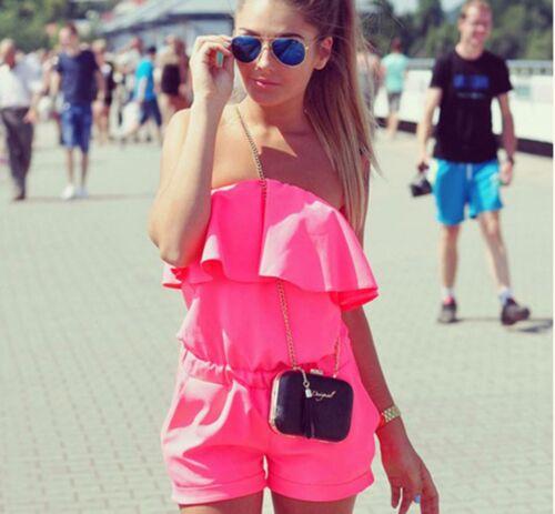 UK Womens Off Shoulder Holiday Playsuit Summer Ladies Jumpsuit Beach Vincenza