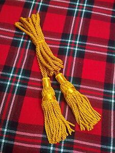 Schottischer Großer Highland Dudelsack Drohne Kabel Seide Golden Farbe //