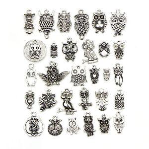 30pcs-Tibetan-Silver-Color-Owl-Pendant-Charm-Set-for-DIY-Handmade-Jewelry-Making