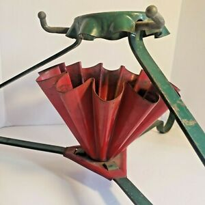 Vintage Retro 1950's Christmas Tree Tripod Stand Red Green
