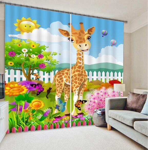 3d jirafa flor 63 bloqueo foto cortina cortina de impresión sustancia cortinas de ventana