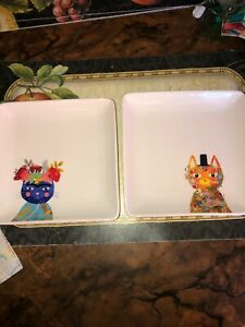 Rare-Two-MAGENTA-Cat-Feline-Floral-Flowers-7-034-Square-Side-Plates-RR