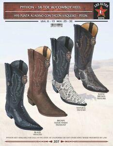 Los Altos Men's Genuine Python 3X Toe Western Boots