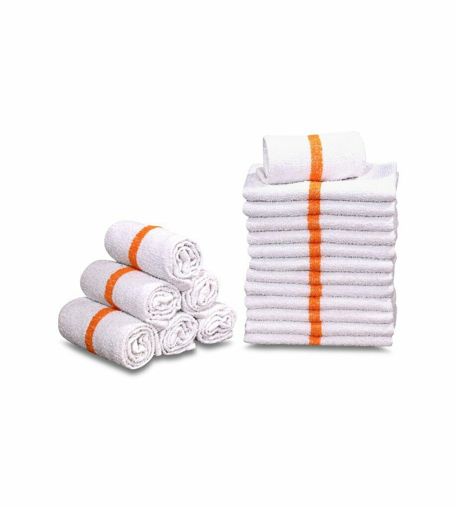 12 new stripe terry towels bar mops jumbo large 16x19 100/% cotton unifirst brand