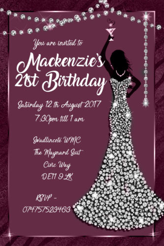 Personalised Glamour Ladies Any Age Birthday Party Invites inc envelopes B110