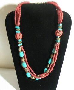 LONG-CORAL-amp-TURQUOISE-NECKLACE-TRIBAL-BELLY-DANCE-BOHO-BEACH-GYPSY-26-034