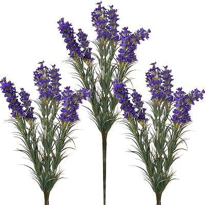 Set of 3 Artificial 35cm Lavender Plants With Dark Purple Flowers