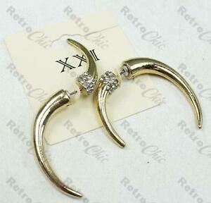 Image Is Loading Curved Horn Ear Tunnel Earrings Fake Tunnels Gold