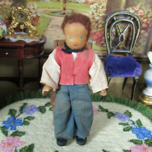 Vtg-30s-Antique-WOOD-FACE-Dollhouse-Boy-Man-German-Lotte-Seiver-Hahn-Doll-Wooden