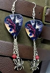 77b36f602 Image is loading Spider-Man-Duality-Guitar-Pick-Earrings-with-Charm-