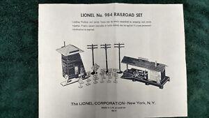 LIONEL-984-RAILROAD-SET-INSTRUCTIONS-PHOTOCOPY