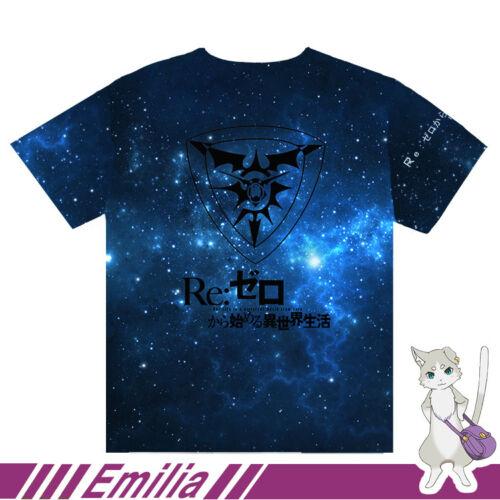 Japanese Anime Re:Zero Emilia COS Unisex Leisure Full Color Casual Tops T-Shirt