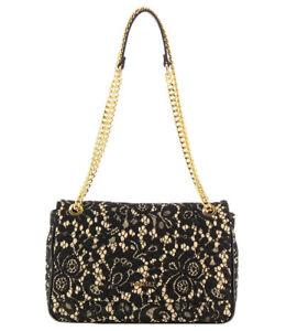 Dettagli su Twinset borsa in pizzo beige e nero con catena per donna, 29x18x8 cm Twin set 71