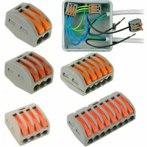 2/3/4/5/8 Way Reusable Spring Lever Terminal Block Electric Cable Wire Connector