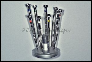 9-Replaceable-Blade-Screwdrivers-Fixed-Stand-Base-Watchmakers-Jewellers-Watch
