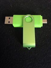 GREEN 8GB USB 2.0 e Micro USB Flash Pen Drive Memory Stick Pollice rotante chiave