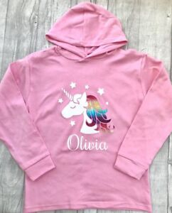0a931967c2f25 Details about GIRL'S PERSONALISED UNICORN PINK Hoodie Hoody BABY GIRL Cute  Newborn Gift Love