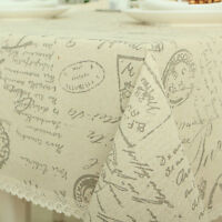 New Style Alphabet Printed Cotton Linen Kitchen Tablecloths Tea Table Cover