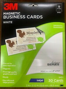 """30ct 3M Magnetic Business Cards 2"""" x 3.5"""" Inkjet D415-I Brand New 3sheets/10ea"""